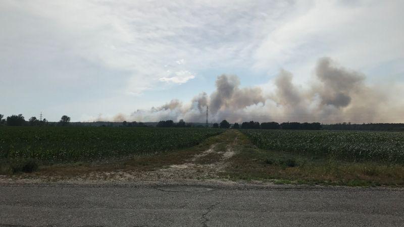 Požiar lesa medzi obcami Láb a Jakubov